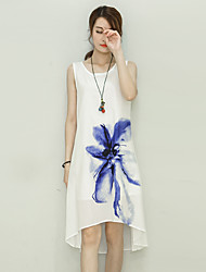 Women's Casual/Daily Chinoiserie Loose Dress,Floral Round Neck Knee-length Sleeveless  Cotton / Linen Summer