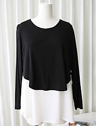 Maternity Round Neck Layered / Ruched Blouse,Polyester Long Sleeve