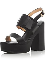 женская обувь кожа коренастый пятки пятки / Платформа / открытые босоножки носок платье / вскользь черный / белый