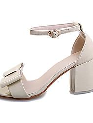 Damen-Sandalen-Lässig-PU-Blockabsatz-Sandalen-Rosa / Weiß / Grau / Beige
