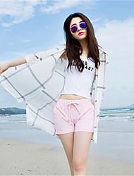 Women's Check White / Black Jackets,Sexy Shirt Collar ¾ Sleeve