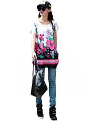 Damen Blumen Boho Lässig/Alltäglich T-shirt,Rundhalsausschnitt Sommer Kurzarm Rot Baumwolle Dünn