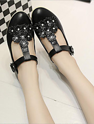 Girl's Sandals Spring / Summer / Fall Comfort / Sandals PU Casual Flat Heel Crystal / Flower Black / Pink / White