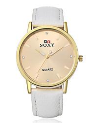 Women's Fashion Round Leather Casual Wristwatches Glass Analog Quartz Men Watch