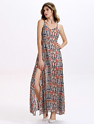 Women's Going out / Club Sexy Chiffon Dress,Print Strap Maxi Sleeveless Multi-color Cotton / Others All Seasons
