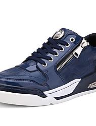 Masculino-TênisRasteiro-Preto Azul Branco-Couro Envernizado-Casual Para Esporte