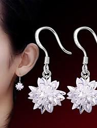 2016 Korean Women 925 Silver Sterling Silver Jewelry Crystal Flower Earrings Drop Earrings 1Pair