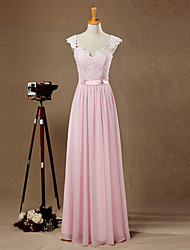 Formal Evening Dress A-line Sweetheart Floor-length Chiffon / Lace with Appliques