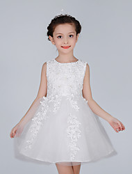 A-line Short/Mini Flower Girl Dress - Cotton / Lace / Satin / Tulle Sleeveless Jewel