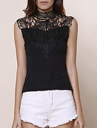 Women's Solid Vintage Casual Cut Out Lace Hook All Match Slim Tanks,Crew Neck Sleeveless