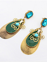 European And American Fashion Water Droplets Gemstone Earrings