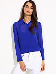 Women's Solid Shirt, Shirt Collar Long Sleeve
