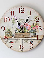 Painted Floral Wood Wall Clock