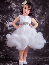 Ball Gown Knee-length Flower Girl Dress - Tulle Jewel with Beading