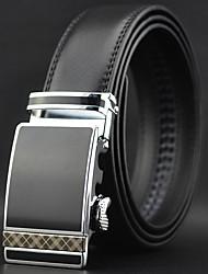 Men Black Automatic Buckle Genuine Leather Wide Belt Waist Strap,Work / Casual