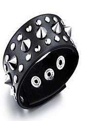 Bracelet Bracelets en cuir Cuir Forme Pointue Mode / Bohemia style Quotidien / Décontracté Bijoux Cadeau Noir,1pc