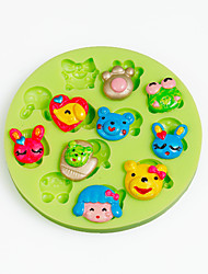 Cartoon Animal Face Silicone Chocolate Mold Fondant Cupcake Decoration Sugarcraft Tools Polymer Clay Color Random