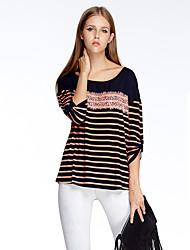 Herz Soul® Damen Rundhalsausschnitt 3/4 Ärmel T-Shirt Blau / Rosa / Rot-11AA24689
