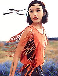 Aporia.As® Femme Col Arrondi Sans Manches Shirt et Chemisier Orange-MZ03072