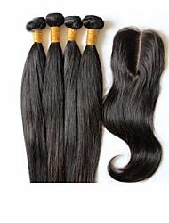 6a cabelo virgem mongol não transformados em linha reta com fecho 3 pacotes com fecho de 4 * 4 laço tecer cabelo humano com fecho