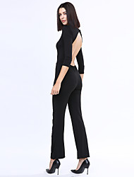 Women's Sexy Beach Casual Party Round Neck Backless Slim Jumpsuit