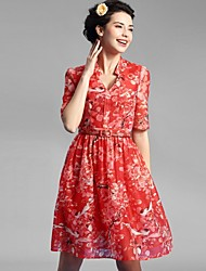 Baoyan® Damen V-Ausschnitt 1/2 Ärmel Midi Kleid-1601131