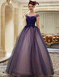 Formal Evening Dress Ball Gown Scoop Floor-length Lace / Tulle with Appliques