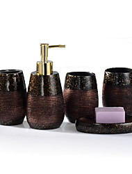 Resin Bathroom Sets(1 Hand Sanitizer Bottle,2 Cups, 1 Toothbrush Holder,1Soapbox)