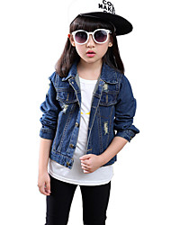 Girl's Cotton Spring/Fall Fashion Lapel Long Sleeve Short Cowboy Coat