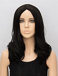 European and American Fashion Black Medium Wig 48cm Black Color Medium Length Synthetic Wigs
