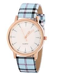 Mulheres Relógio de Moda Quartz Relógio Casual PU Banda Riscas Azul / Cáqui marca-