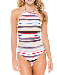 Womens Sexy High Neck Backless Colorfull Stripe One Piece Swimsuit