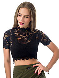 Women's Casual/Daily Sexy Summer Lace Hook Hollow Out Blouse Solid Round Neck Short Sleeve Black