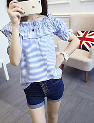 Women's Casual/Daily Sexy Summer Blouse,Striped Boat Neck Short Sleeve Blue Polyester Thin