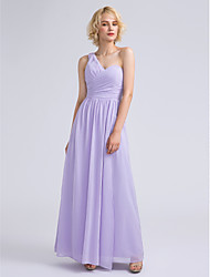 Ankle-length Chiffon Bridesmaid Dress - Sheath / Column One Shoulder with Criss Cross