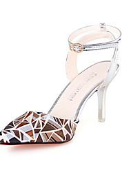 Damen High Heels PU Sommer Normal Schnalle Stöckelabsatz Weiß Silber Grau Rosa Golden 5 - 7 cm