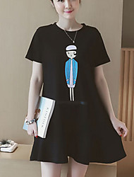 Vestido de maternidad Sobre la rodilla Volante-Algodón-Escote Redondo Manga Corta