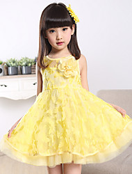 A-line Knee-length Flower Girl Dress - Cotton / Tulle Sleeveless Jewel with Flower(s)