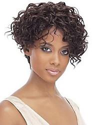 8 polegadas mulheres sem capa bobo curtos castanhos perucas sintéticas escuro encaracolado com rede de cabelo gratuito
