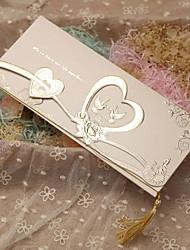 Имя, надпись на заказ Тройной сгиб Свадебные приглашения Пригласительные билеты-50 Шт./набор Классический / С сердцами / СказочныйРозовая