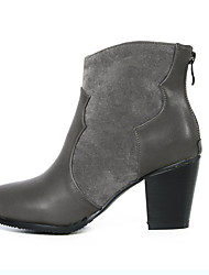 Women's Shoes Fleece Chunky Heel Riding Boots / Round Toe Boots Office & Career / Dress Black / Brown / Gray