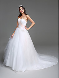 LAN TING BRIDE Ball Gown Wedding Dress Simply Sublime Chapel Train Sweetheart Tulle with Criss-Cross Flower