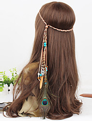 Women's Bohemia Beads Feather Pendant Weave Headbands 1 Piece