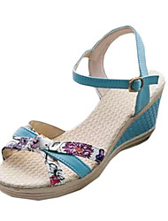 Damen-Sandalen-Lässig-PU-Keilabsatz-Sandalen-Blau / Rosa / Weiß