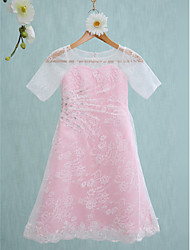 LAN TING BRIDE Knee-length Lace Junior Bridesmaid Dress Sheath / Column Jewel Natural with Beading