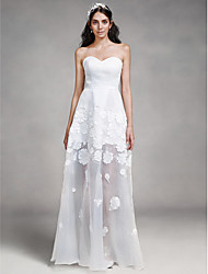 LAN TING BRIDE Sheath / Column Wedding Dress See-Through Floor-length Sweetheart Organza Satin with Appliques