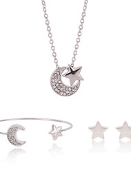 Silver Sweet Moon Star Cuff Bangle & Stud Earrings & Pendant Necklace Jewelry Set