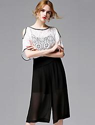 AFOLD® Women's Round Neck Short Sleeve Knee-length Dress-5691