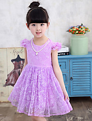 Girl's Cotton Summer Fashion Net Yarn Sleeve Embroider Princess Dress