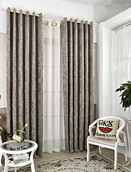 Two Panel European Simple Modern Style With Thick Snow Neil Leaves Flowers Sitting Room Dining-Room Bedroom Curtains